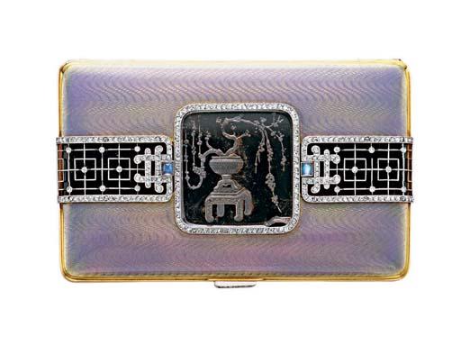 AN ART DECO ROCK CRYSTAL, ENAMEL AND DIAMOND CIGARETTE CASE, BY MAPPIN & WEBB