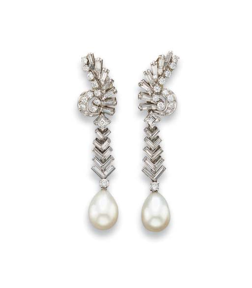 A PAIR OF CULTURED PEARL AND DIAMOND EAR PENDANTS