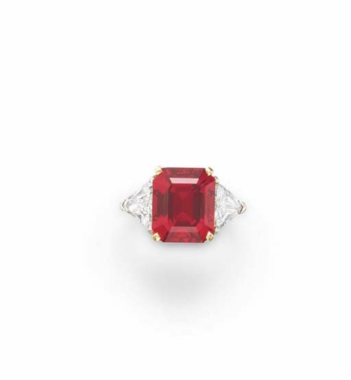 A RUBY AND DIAMOND RING, BY CA