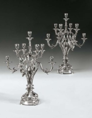 A PAIR OF FRENCH SILVER NINE-L