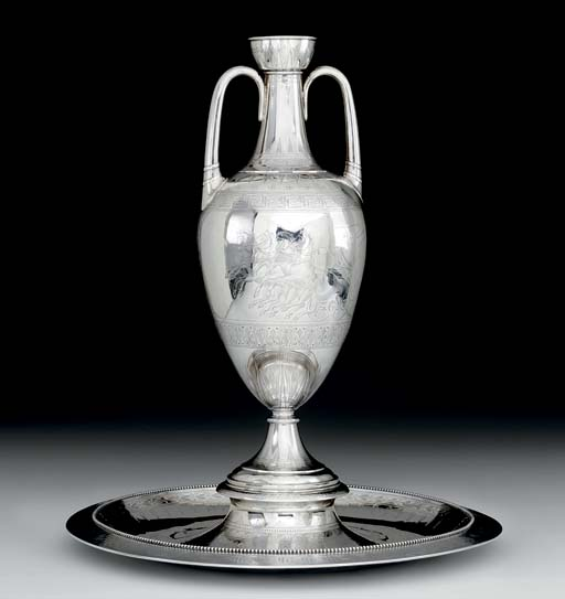 A VICTORIAN SILVER VASE AND ST