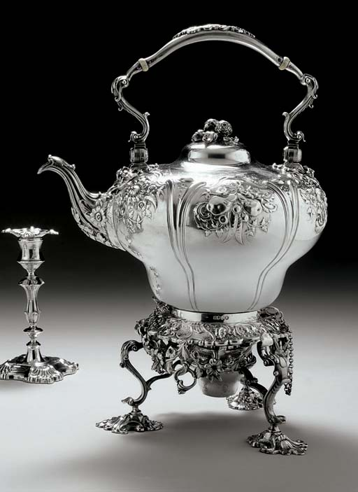 A VICTORIAN SILVER KETTLE-ON-S