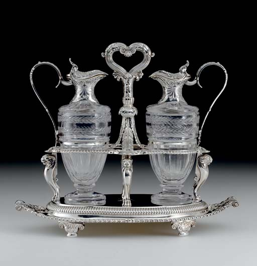 A GEORGE III SILVER AND GLASS