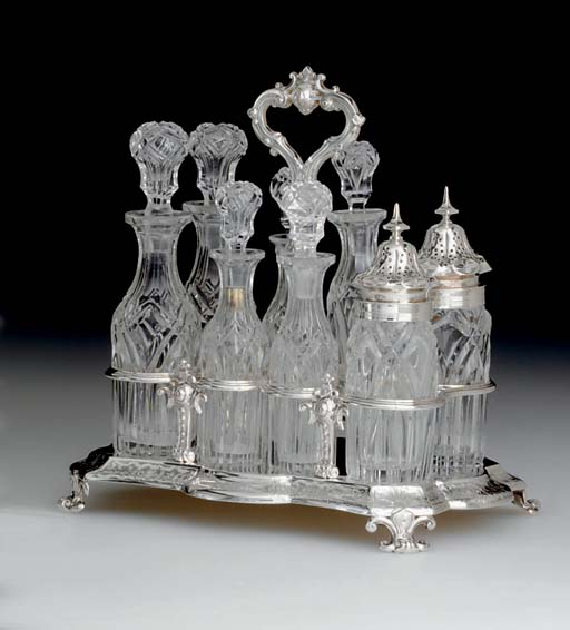 A GEORGE IV SILVER AND GLASS C