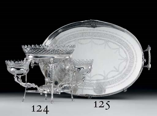 A VICTORIAN SILVER SERVING TRA