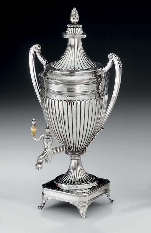 A GEORGE III SILVER TEA URN**