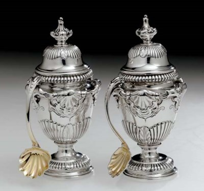 A PAIR OF GEORGE II SILVER CON