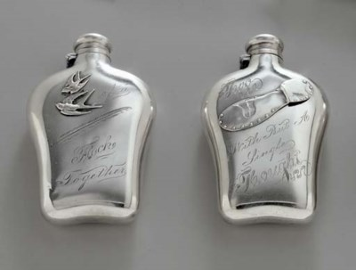TWO AMERICAN SILVER FLASKS