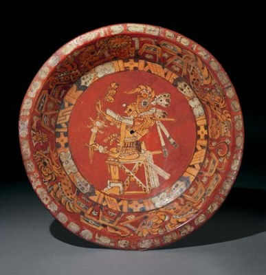 MAYAN PAINTED PLATE