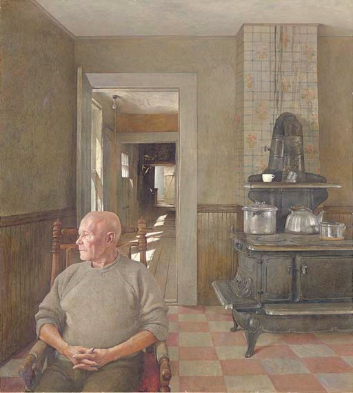 Andrew Wyeth (1917-2009), Ericksons, painted in 1973. Tempera on panel. 42 x 38  in (106.7 x 96.5  cm). Sold for $10,344,000 on 24 May 2007 at Christie's in New York. Artwork © Andrew Wyeth  ARS, NY and DACS, London 2019