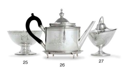 A SILVER TEAPOT AND STAND