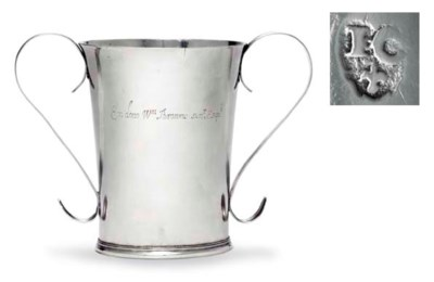 A SILVER TWO-HANDLED BEAKER