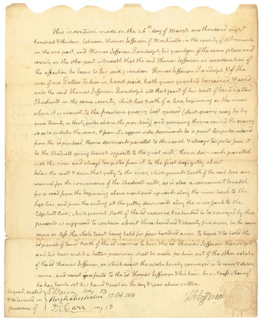 JEFFERSON, Thomas. Autograph d