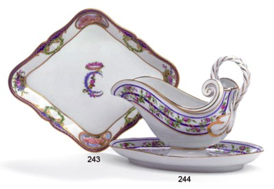 A SÈVRES SAUCEBOAT AND STAND (