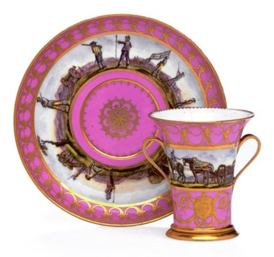 A SÈVRES LATER DECORATED PINK-