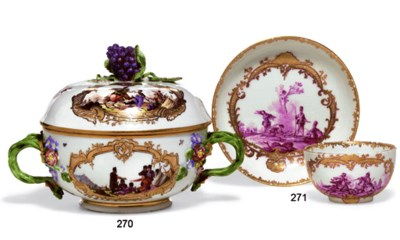 A MEISSEN ECUELLE AND COVER