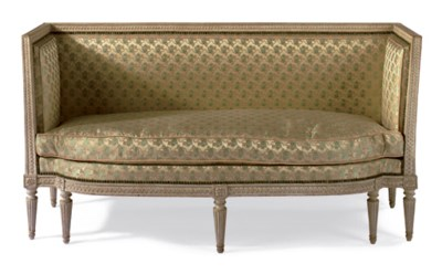 A FRENCH GREY-PAINTED SETTEE