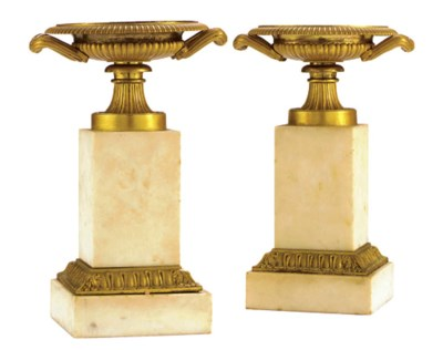 A PAIR OF EMPIRE ORMOLU AND WH