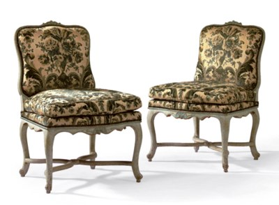 A PAIR OF LOUIS XV BLUE AND GR