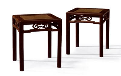 A PAIR OF CHINESE HARDWOOD SOF