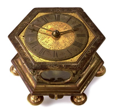 A GERMAN HEXAGONAL ORMOLU TABL