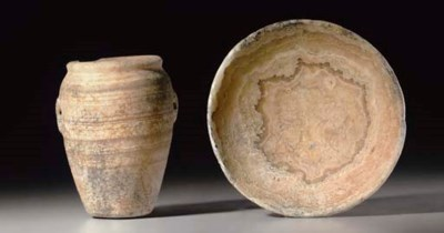 TWO EGYPTIAN ALABASTER VESSELS