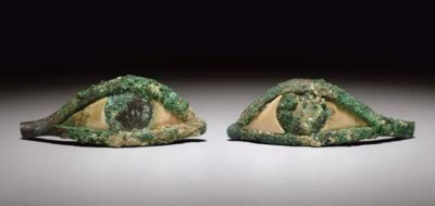 A PAIR OF EGYPTIAN BRONZE AND