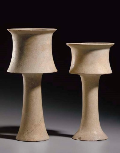 TWO BACTRIAN CALCITE CHALICES