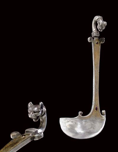 A GREEK PARCEL GILT SILVER AND