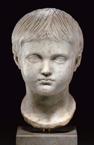 A ROMAN MARBLE HEAD OF A BOY