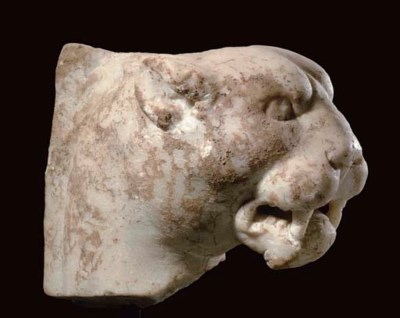 A ROMAN MARBLE PANTHER HEAD