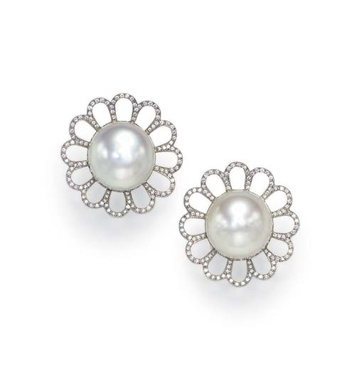 A PAIR OF CULTURED PEARL AND DIAMOND EAR CLIPS, BY FRED LEIGHTON