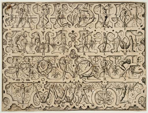 """AMMAN, Jost (1539-1591). Human Alphabet. Signed and dated """"I.A. 1567."""" [but 1808/1816]."""