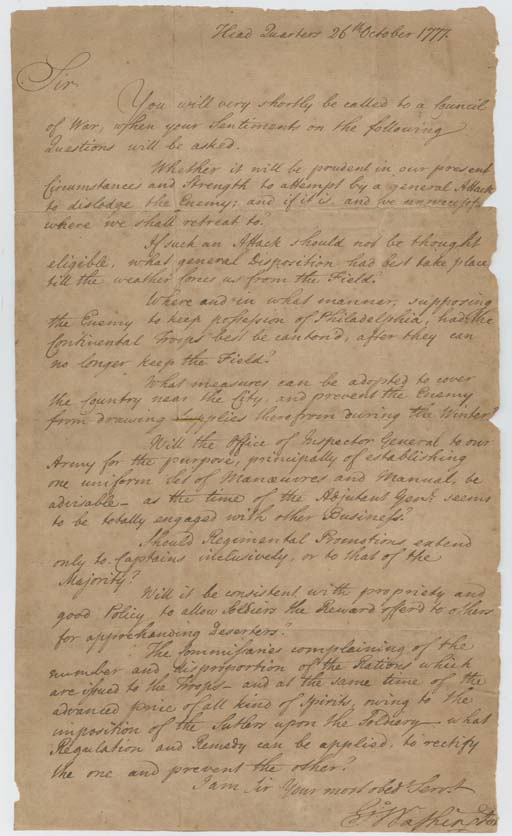 """WASHINGTON, George. Letter signed (""""G:o Washington""""), as Commander in Chief, to General James M. Varnum (1748-1789), a circular letter, Head Quarters, 26 October 1777. 1 page, folio, chipped along right edge catching one letter and small portion of final """"n"""" in signature, tape reinforcements on verso."""