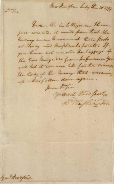 WASHINGTON, George. Letter sig