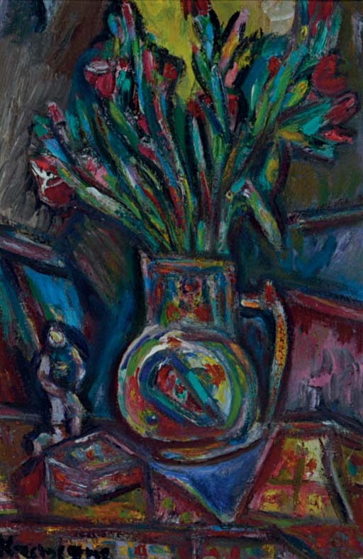 Still life of flowers on a table