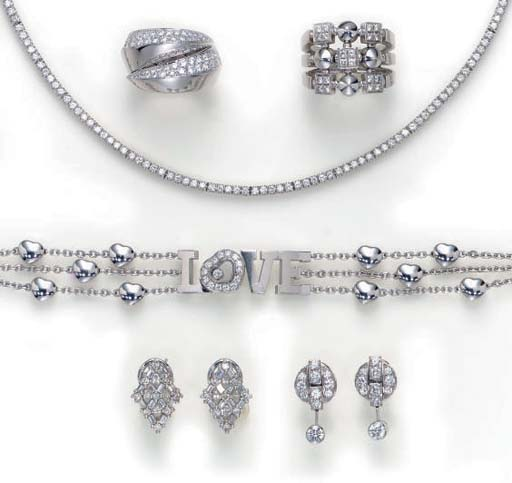 A GROUP OF DIAMOND AND 18K WHI
