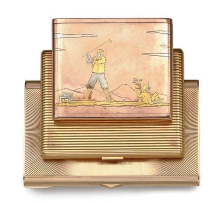 A GROUP OF GOLD CIGARETTE CASE