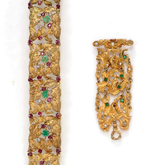 A SET OF ANTIQUE MULTI-GEM AND