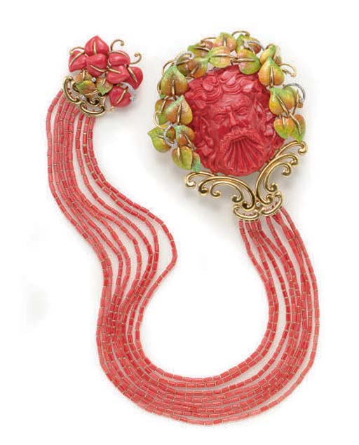 **A CORAL, ENAMEL, DIAMOND, AN