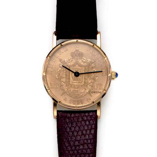 A GOLD COIN WRISTWATCH, BY COR