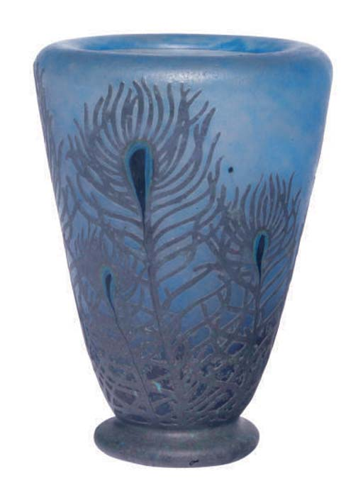 A FRENCH CAMEO GLASS PEACOCK VASE,