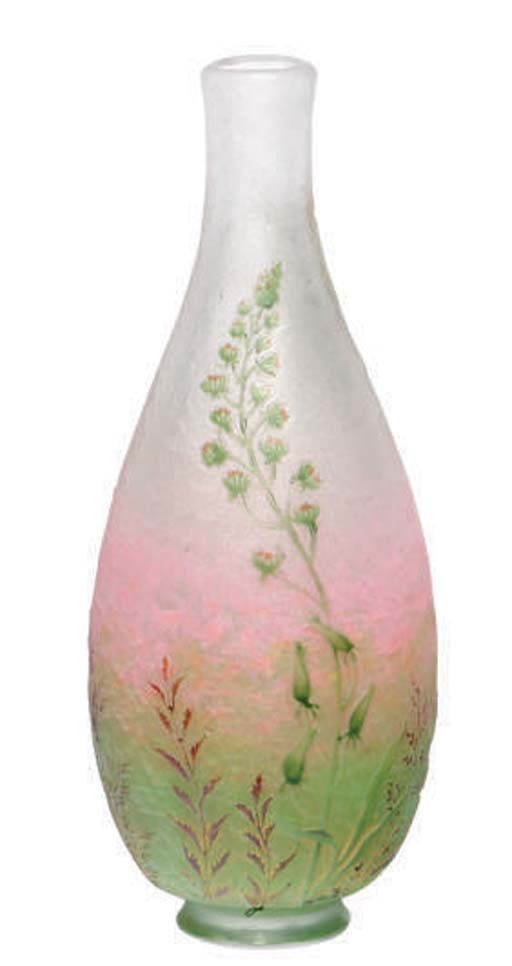 A FRENCH GLASS CABINET VASE,