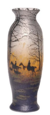 A FRENCH ENAMELED GLASS VASE,