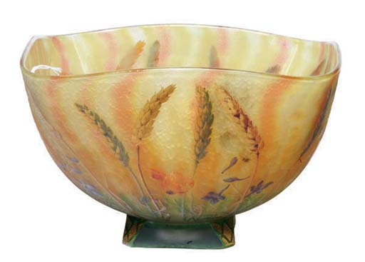 A FRENCH ETCHED AND ENAMELED GLASS BOWL,