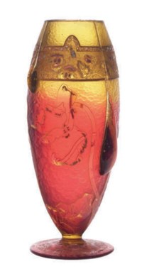 A FRENCH GILT CAMEO GLASS VASE WITH APPLIED DECORATION,