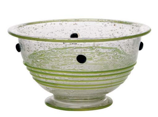 A FRENCH GLASS FOOTED BOWL WIT