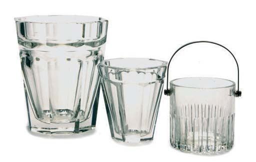 TWO FRENCH GLASS ICE BUCKETS,