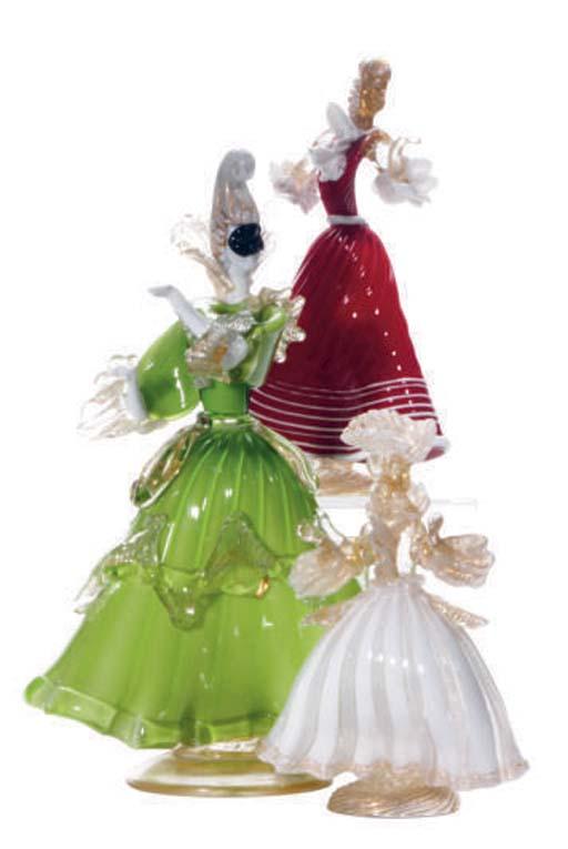 FIVE ITALIAN GLASS FIGURES OF