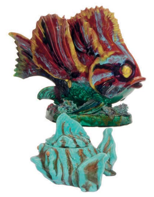 EIGHT FRENCH POTTERY FISH FORM